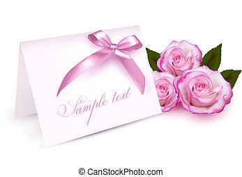 cartão, rosas, saudação, beleza