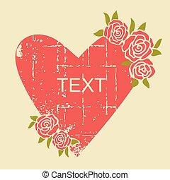 cartão, símbolo, decoração, vermelho, papel, amor, experiência., vindima, coração, grunge, cor-de-rosa, vetorial, textura, antigas, rosas, texto