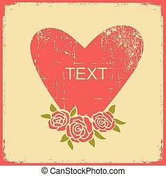cartão, símbolo, vermelho, papel, amor, experiência., vindima, coração, grunge, cor-de-rosa, vetorial, textura, antigas, rosas, texto