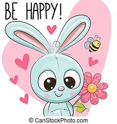 cartão, ser, saudação, coelho, feliz