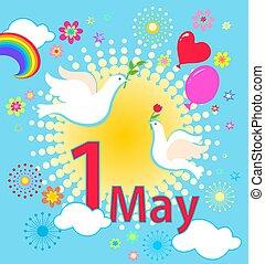 cartão, trabalho, primavera, apartamento, labour., arco íris, 1, estilo, internacional, mayday, celebração, flores, day., sol, balões, pombas, saudação, maio