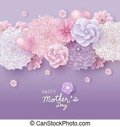 cartão, vetorial, desenho, flores, dia, ilustração, conceito, mãe