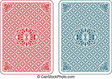 cartões, beta, tocando, costas