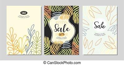 cartões, cartaz, projetos, collection., venda, estilo, floral, bandeiras, ou