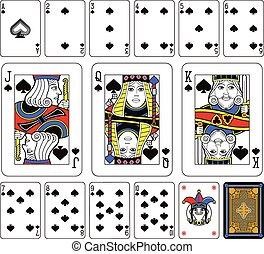 cartões, conjunto, pás, tocando