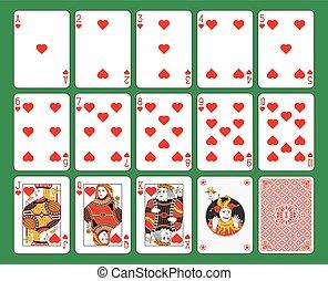 cartões, corações, tocando, paleto