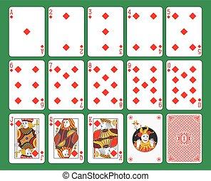 cartões, diamantes, tocando, paleto