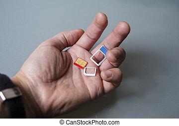 cartões, sim, mão