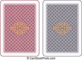 cartões, tocando, costas