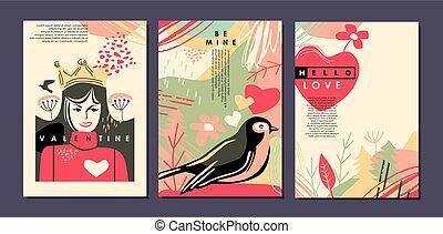 cartões, valentines, saudação, dia, bandeiras