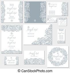 cartões, vetorial, modelo, casório