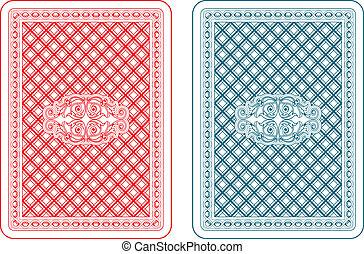 cartões, zeta, tocando, costas