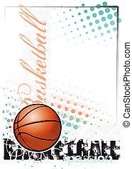 cartaz, basquetebol, fundo