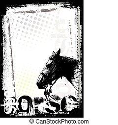 cartaz, cavalo, fundo
