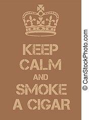 cartaz, charuto, pacata, fumaça, mantenha