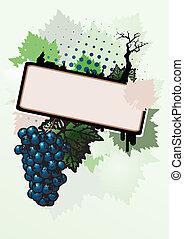 cartaz, fundo, vinho