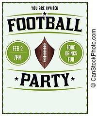 cartaz, futebol, ilustração, americano, voador, partido