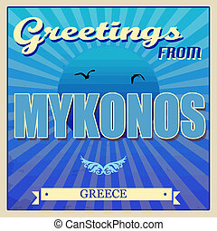 cartaz, grécia, mykonos, touristic
