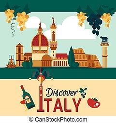 cartaz, itália, touristic