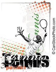 cartaz, tênis, fundo