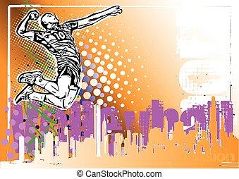 cartaz, voleibol, fundo