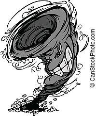 cartoo, vetorial, mascote, tempestade, tornado