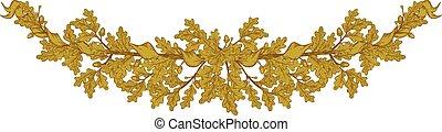 carvalho, ouro, ramo