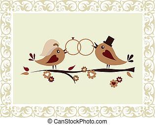 casório, pássaros, convite