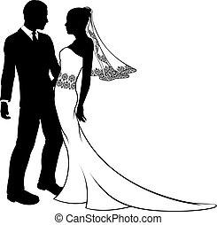 casório, silueta, noivinhos, par