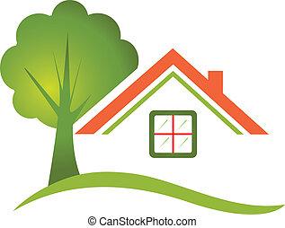 casa, árvore, real, logotipo, propriedade