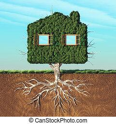 casa, árvore verde, dado forma