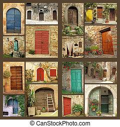 casa, abstratos, -, rústico, muitos, imagens, composição
