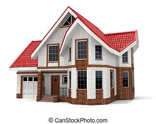 casa, branca, tridimensional, image., experiência.
