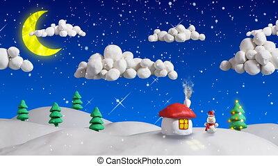 casa, cena natal, volta, inverno