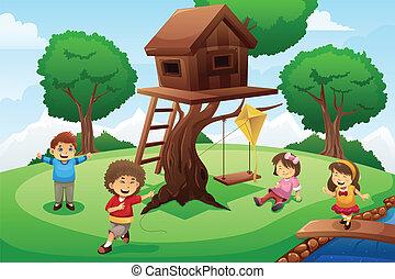 casa, crianças, árvore, jogo ao redor
