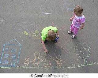 casa, crianças, família, asfalto, desenho