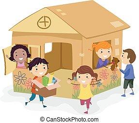 casa, crianças, papelão, meninas, jogo, stickman