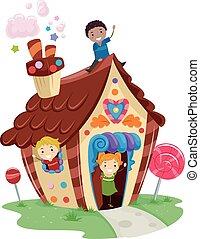 casa, crianças, stickman, doce