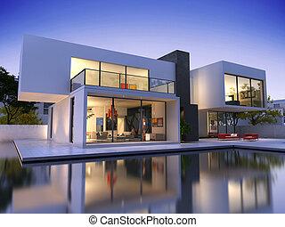casa, cubo, piscina, um