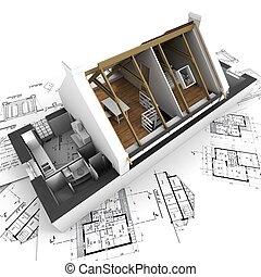 casa, desenhos técnicos, modelo, arquiteta, roofless