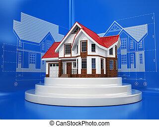 casa, diferente, projeções, esboços, blueprints.