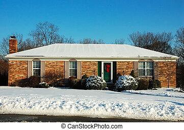 casa, fazenda, inverno