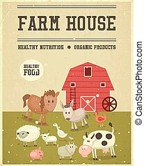 casa fazenda, retro, cartaz