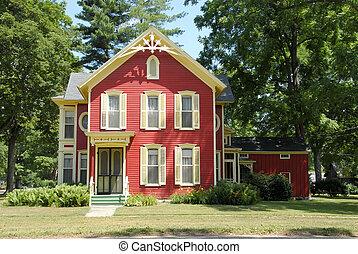 casa fazenda, vermelho