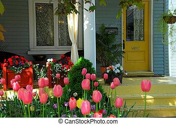 casa, flores, alpendre