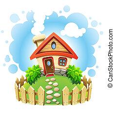 casa, gramado, fairy-fairy-tale, cerca