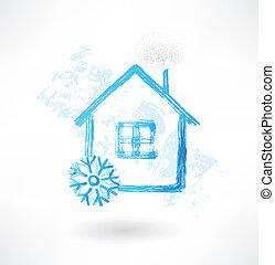 casa, grunge, neve, ícone