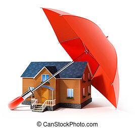 casa, guarda-chuva, vermelho, chuva, protegendo
