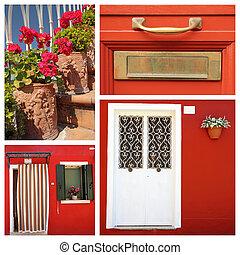 casa, itália, vermelho, colagem