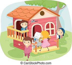 casa, jogo, crianças, stickman